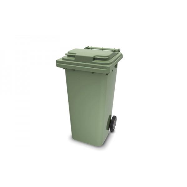 Передвижной мусорный контейнер 120 л. с крышкой и педальным приводом (480х555х937 мм) зеленый