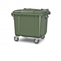 """Передвижной мусорный контейнер 1100 л. с крышкой и логотипом """"Ай-Пласт"""" 1377x1077x1369 мм (25.C19.P)"""