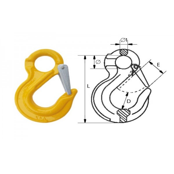 Крюк с проушиной и защелкой типа G80, 20-8 (12.5т)