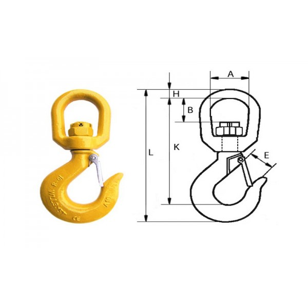 Крюк вращающийся с защелкой типа G80, 10-8 (3.2т)