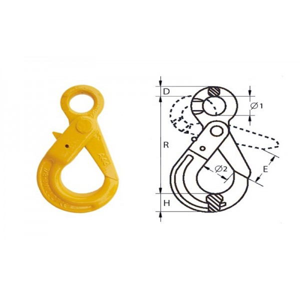 Крюк самозащелкивающийся с проушиной типа G80, 16-8 (8.0т)