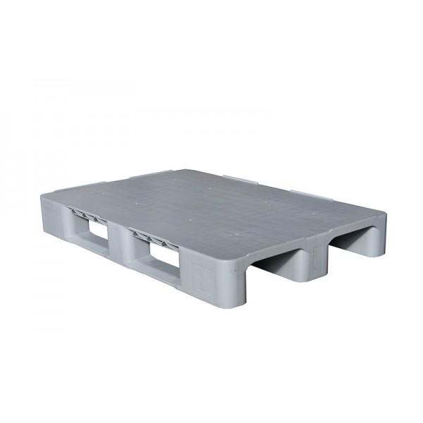 Универсальный сплошной пластиковый поддон на трех лыжах 1200х800х150 мм (02.105F.91.С3.PE) серый