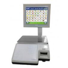 Весы торговые CAS CL-7200S-2 до 15 кг, с печатью этикеток, со стойкой