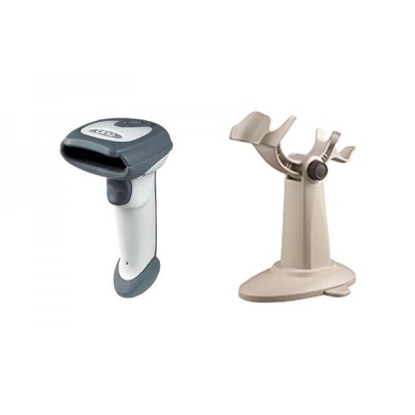 Ударостойкий сканер штрих-кодов Cino F780 KBW серый с прорезиненным корпусом и подставкой Hands Free