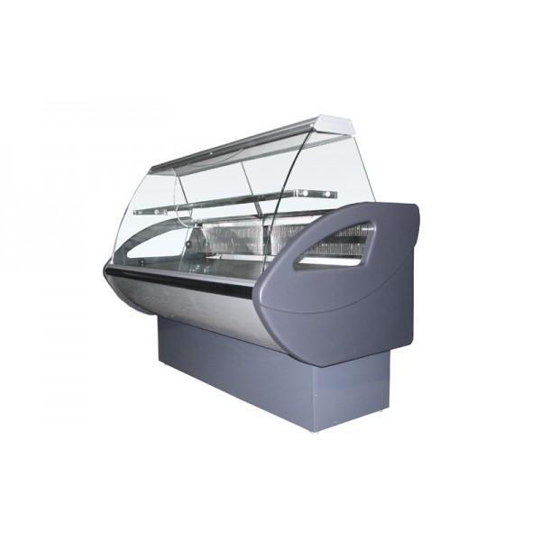 Охлаждаемая витрина Росс Rimini-1,5 ВС Эконом; 1,59х0,8 м (от 0 до +8°С с полкой), с гнутым стеклом