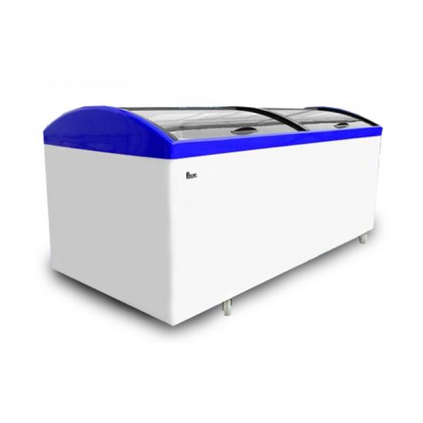 Морозильный ларь Juka М1000 V с гнутым стеклом (-18..-25°С, 2001х1001х982 мм, полезный объем 774 л)