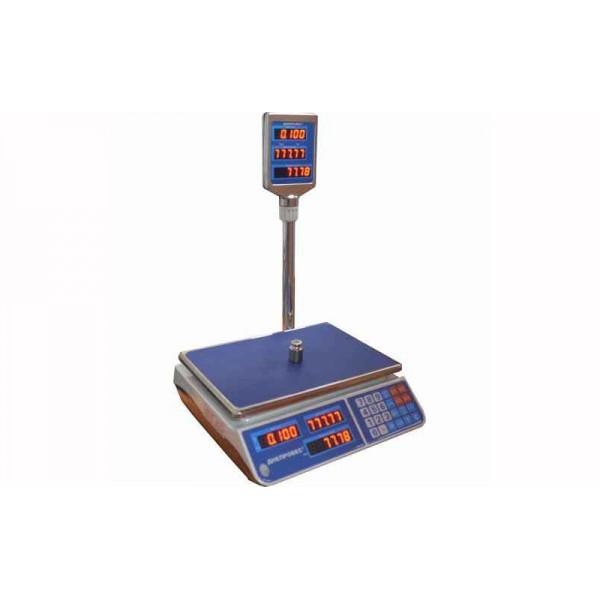 Торговые весы со стойкой Днепровес F902H-15EL до 15 кг, точность 2 г,  светодиодный дисплей
