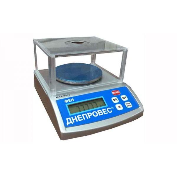 Лабораторные весы Днепровес ФЕН-600Л до 600 г с точностью 0,01 г, 4-го класса точности